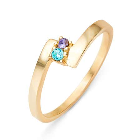 2 Stone Birthstone Gold Bypass Ring