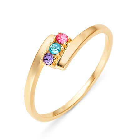 3 Stone Birthstone Gold Bypass Ring
