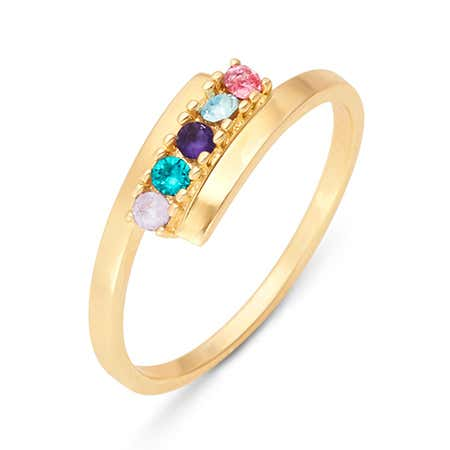 5 Stone Birthstone Gold Bypass Ring