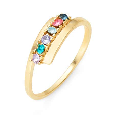 6 Stone Birthstone Gold Bypass Ring