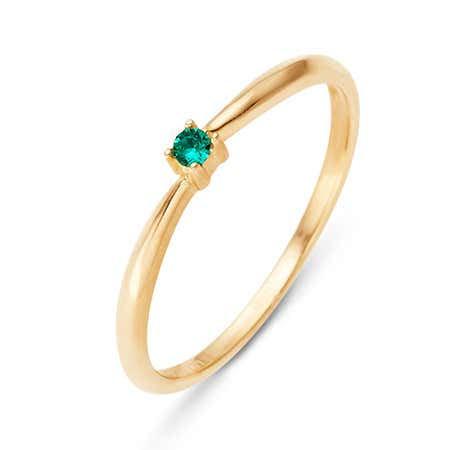 Petite Custom Birthstone Gold Ring