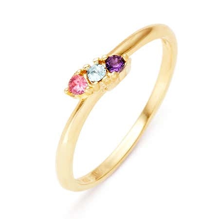 3 Birthstone Gold Ring