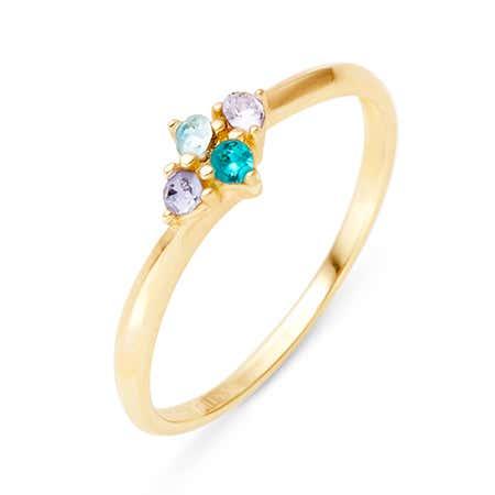 Petite 4 Stone Birthstone Gold Ring