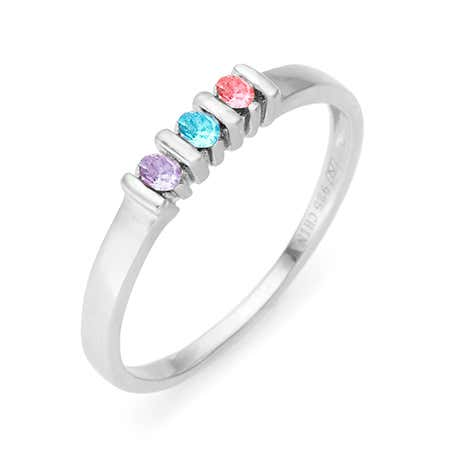 3 Stone Birthstone Silver Eternity Ring
