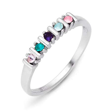 5 Stone Birthstone Silver Eternity Ring