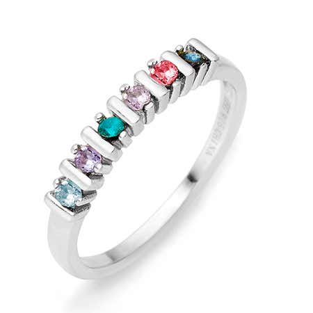 6 Stone Birthstone Silver Eternity Ring