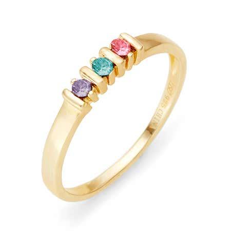 3 Stone Birthstone Gold Eternity Ring