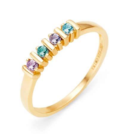 4 Stone Birthstone Gold Eternity Ring