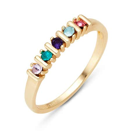 5 Stone Birthstone Gold Eternity Ring