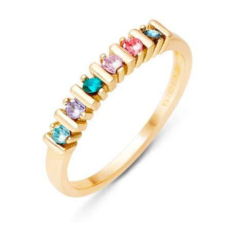6 Stone Birthstone Gold Eternity Ring