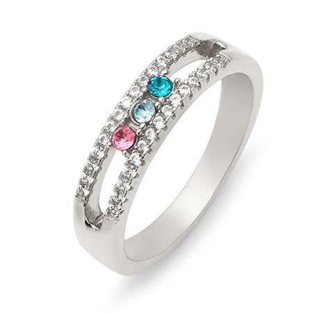 Three Stone Birthstone CZ Silver Ring
