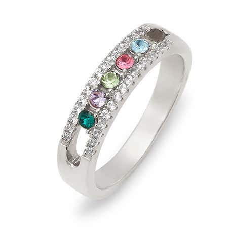Five Stone Birthstone CZ Silver Ring