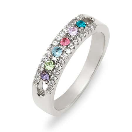 display slide 1 of 3 - Six Stone Birthstone CZ Silver Ring - selected slide