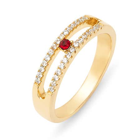Gold Cubic Zirconia Custom Ring With Birthstone