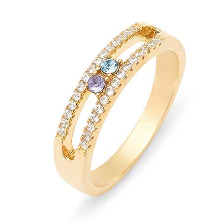 display slide 1 of 3 - Gold 2 Stone Cubic Zirconia Custom Ring With Birthstones - selected slide