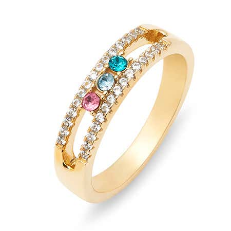 Gold 3 Stone Cubic Zirconia Custom Ring With Birthstones