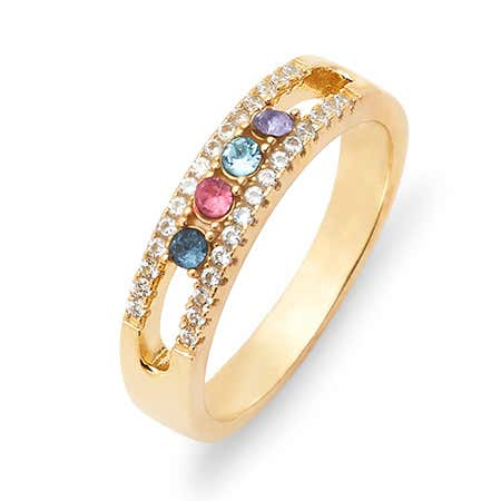 Gold 4 Stone Cubic Zirconia Custom Ring With Birthstones