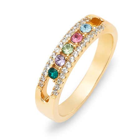 Gold 5 Stone Cubic Zirconia Custom Ring With Birthstones