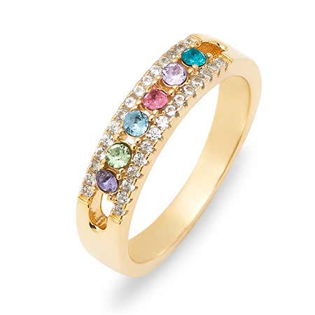 Six Stone Birthstone CZ Gold Ring