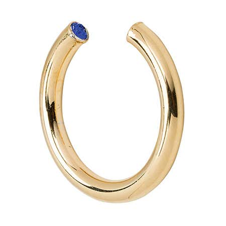 display slide 1 of 1 - Stella Valle Gold September CZ Birthstone Cuff Ring - selected slide