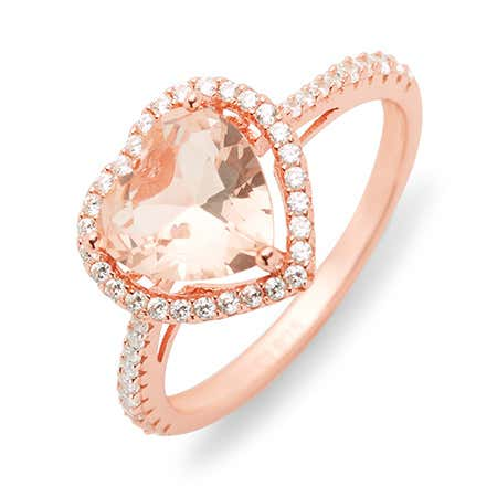 display slide 1 of 2 - Heart Shaped Morganite Engagement Ring - selected slide