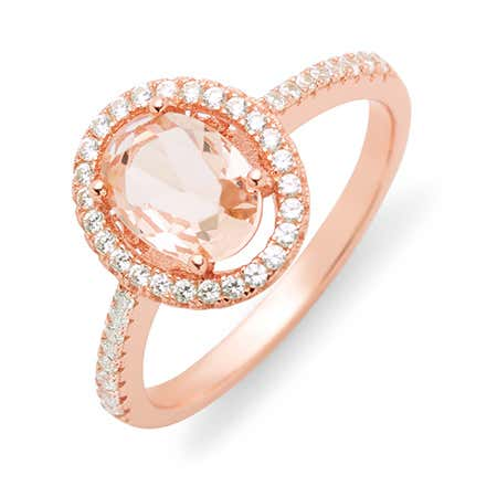 How to shop for a engagement ring Morganite rose gold oval halo engagement ring