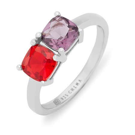 Sterling Silver 2 Stone Cushion Cut Birthstone Ring
