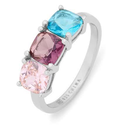 Sterling Silver 3 Stone Cushion Cut Birthstone Ring