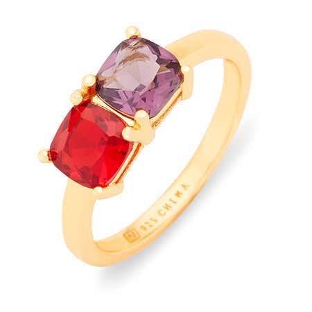 Customizable Gold Cushion Cut 2 Stone Birthstone Ring