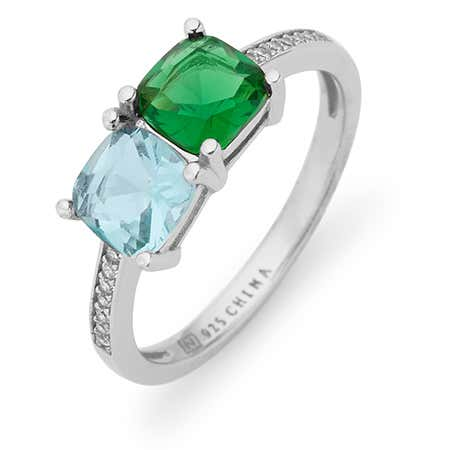display slide 1 of 3 - Sterling Silver Pave Set 2 Stone Cushion Cut Birthstone Ring - selected slide