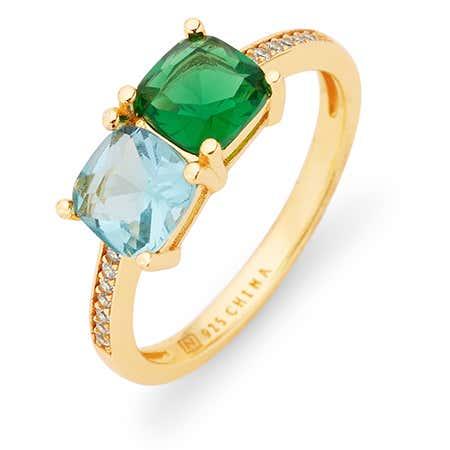 Gold Pave Set 2 Stone Cushion Cut Birthstone Ring