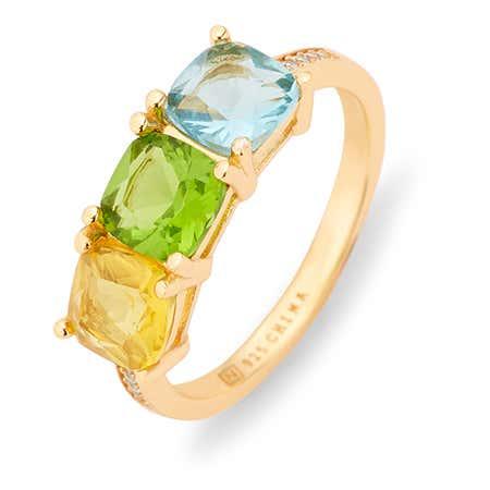 Gold Pave Set 3 Stone Cushion Cut Birthstone Ring