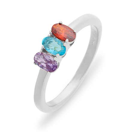 Petite Oval 3 Stone Sterling Silver Birthstone Ring