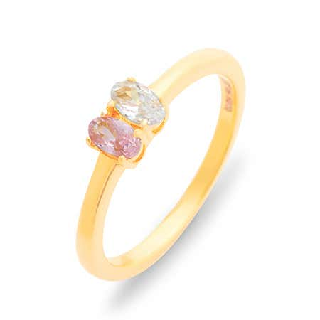 Petite Oval 2 Stone Gold Birthstone Ring