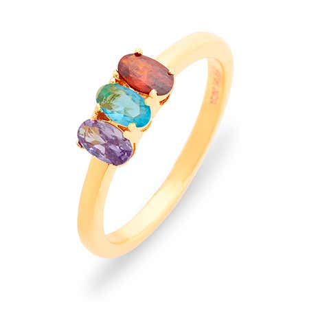 Petite Oval 3 Stone Gold Birthstone Ring