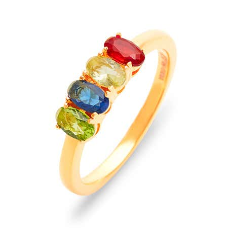 Custom Petite Oval 4 Stone Gold Birthstone Ring