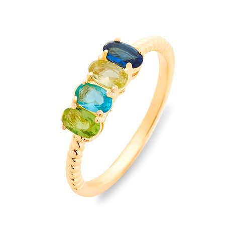 4 Stone Gold Rope Ring | 4 Birthstone Rope Twist Gold Ring