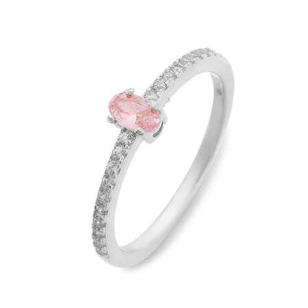Split 1 Stone Silver Birthstone Ring with Dual Ring Setting