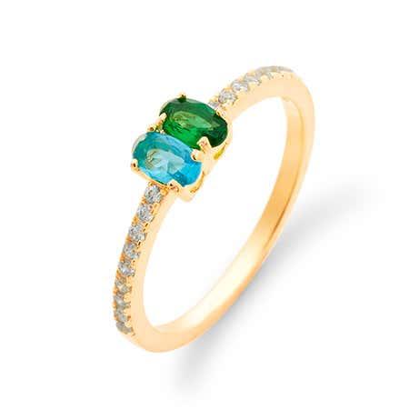 Personalized 2 Stone Split Gold Birthstone Ring