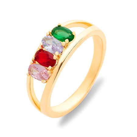Split 4 Stone Gold Birthstone Ring with Dual Ring Setting