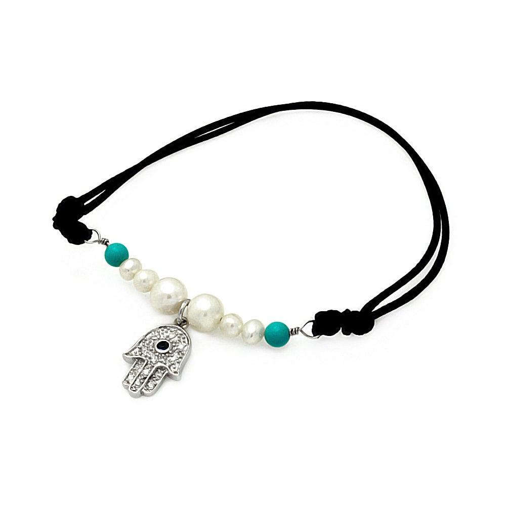 Sterling Silver Freshwater Pearl Beaded Hamsa Bracelet | Eve's Addiction®