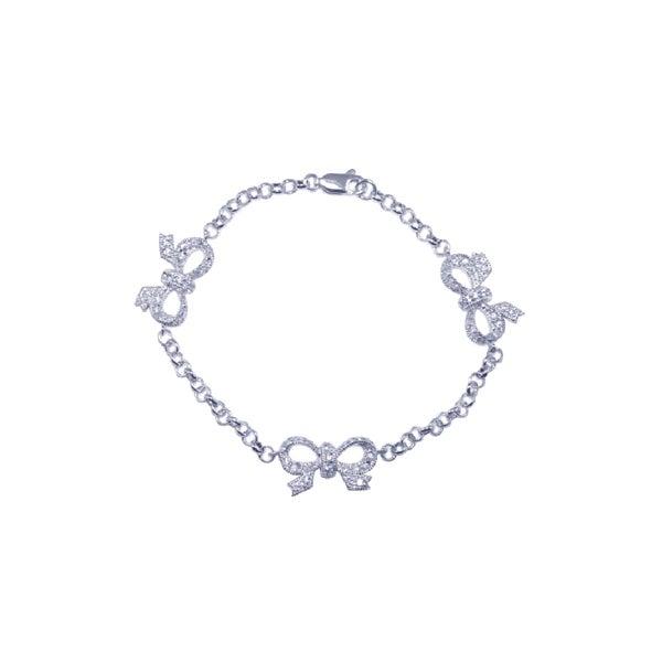 Sterling Silver CZ Triple Bow Bracelet   Eve's Addiction®