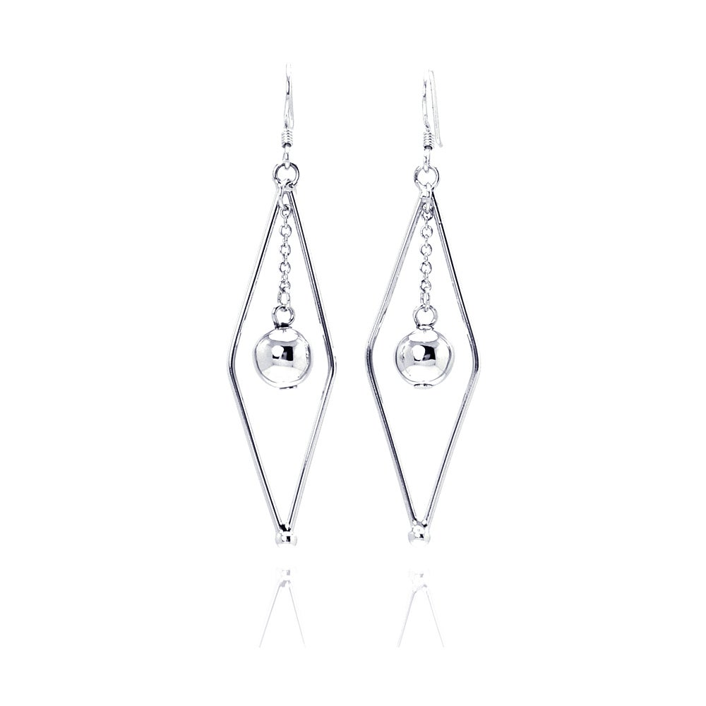 Diamond Shape Drop Earrings with Dangling Silver Bead | Eve's Addiction®