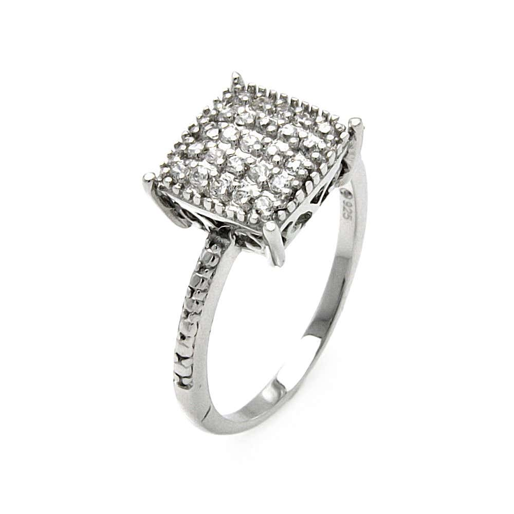 Princess Cut Pave Set CZ Cocktail Ring