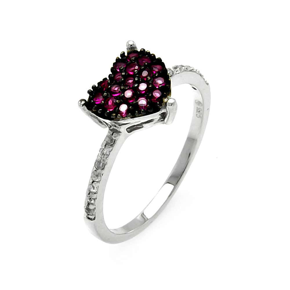 Heart Shaped Pave Set Pink CZ Promise Ring | Eve's Addiction®