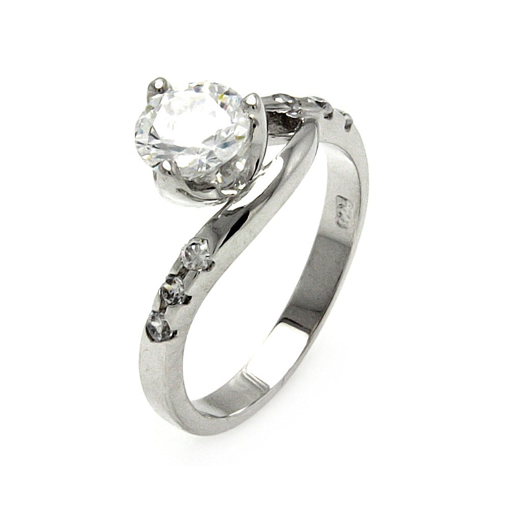 Cradled Brilliant Cut CZ Promise Ring in Sterling Silver | Eve's Addiction®