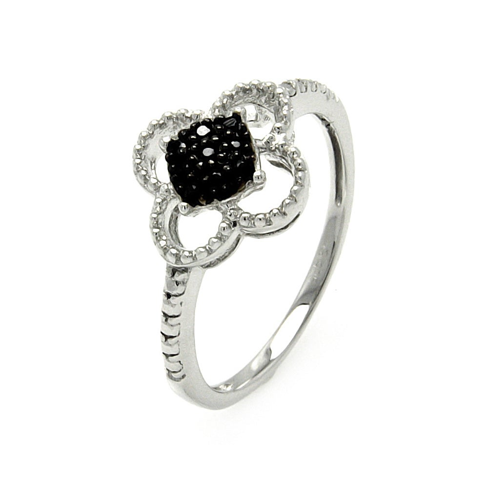 Sterling Silver 4 Leaf Clover Ring with Pave Set Black CZs | Eve's Addiction®