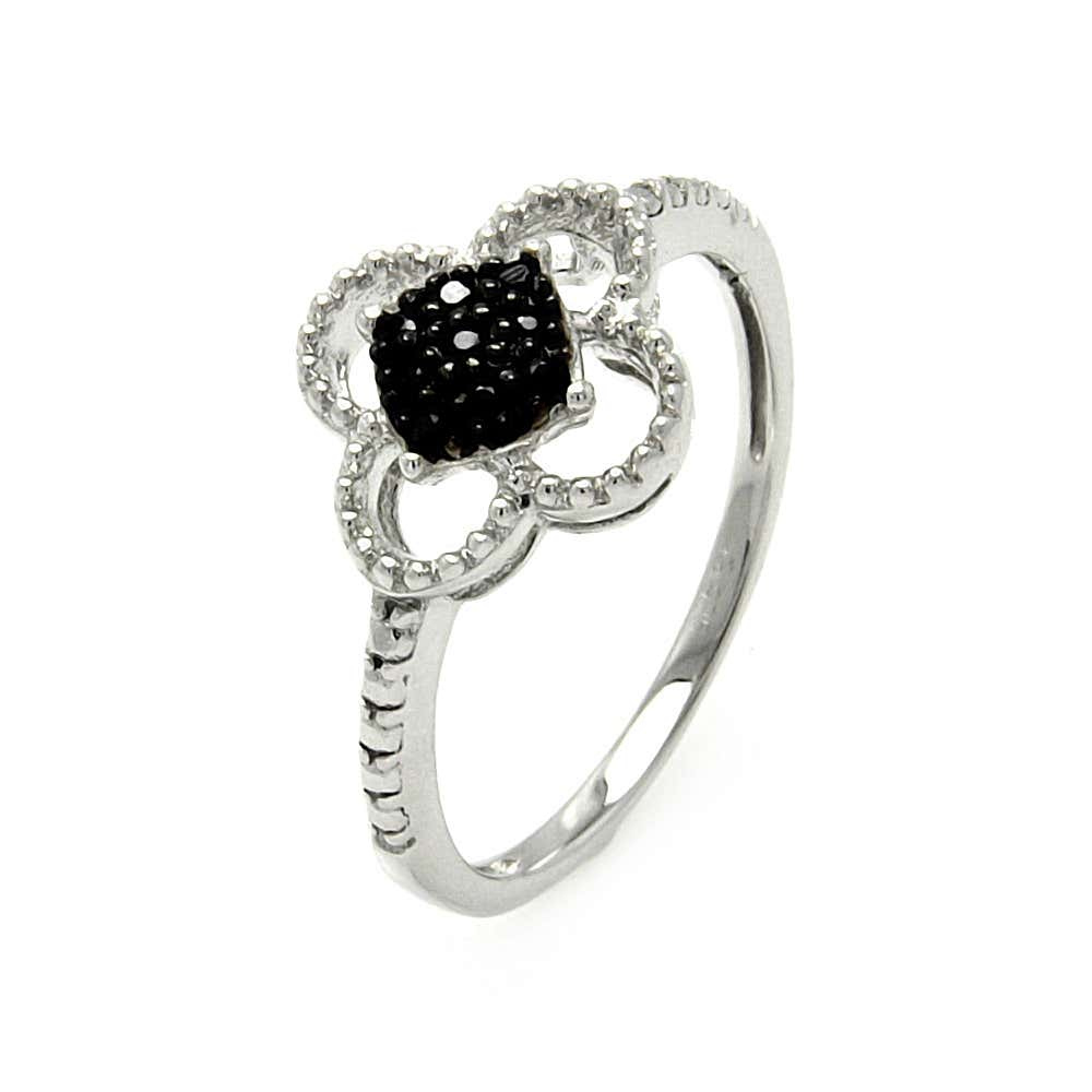 Sterling Silver 4 Leaf Clover Ring with Pave Set Black CZs   Eve's Addiction®