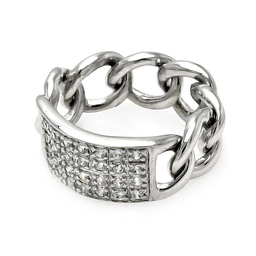 Sterling Silver Chain Link Saddle Ring with Pave CZs | Eve's Addiction®