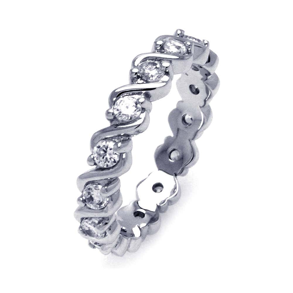 Sterling Silver CZ Continious Wave Ring | Eve's Addiction®